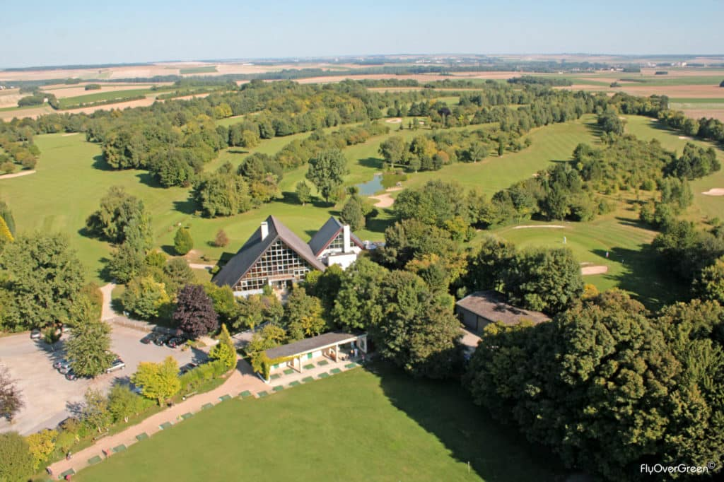 Golf d'Amiens Pacours 18 holes Par 72 in Picardie Aerial view flyovergreen Amiens all golf courses