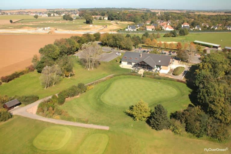 Golf De Caen vue aerienne club-house green du 18