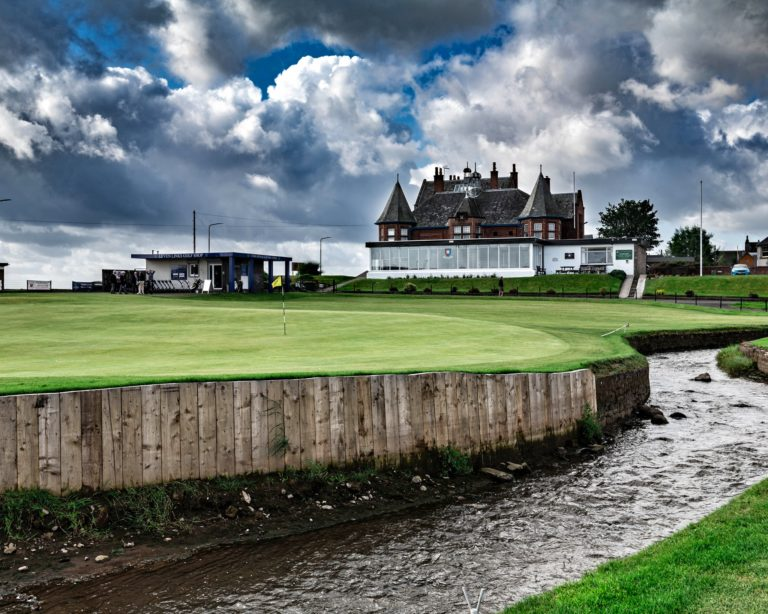 Leven Links Golf Course Green du trou 18 Clubhouse